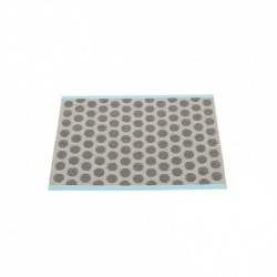"tapis pappelina ""noa"" charbon - gris - bord turquoise"